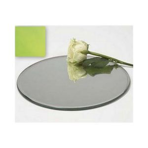 Red 25cm Round Mirrored Mirror Candle Plate